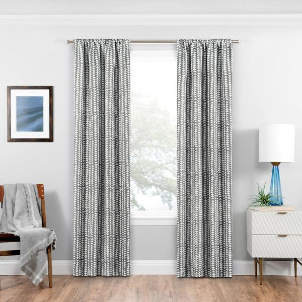 Naya Blackout Window Curtain Panel in Grey - 37 in. W x 84 in. L