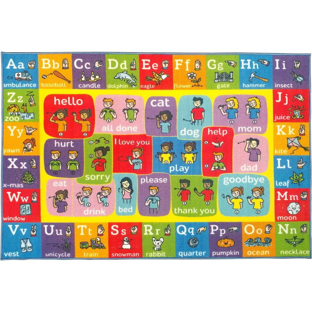 KC CUBS Multi-Color Kids Children Bedroom ABC Alphabet ASL Sign Language  Educational Learning 8 ft  x 10 ft  Area Rug