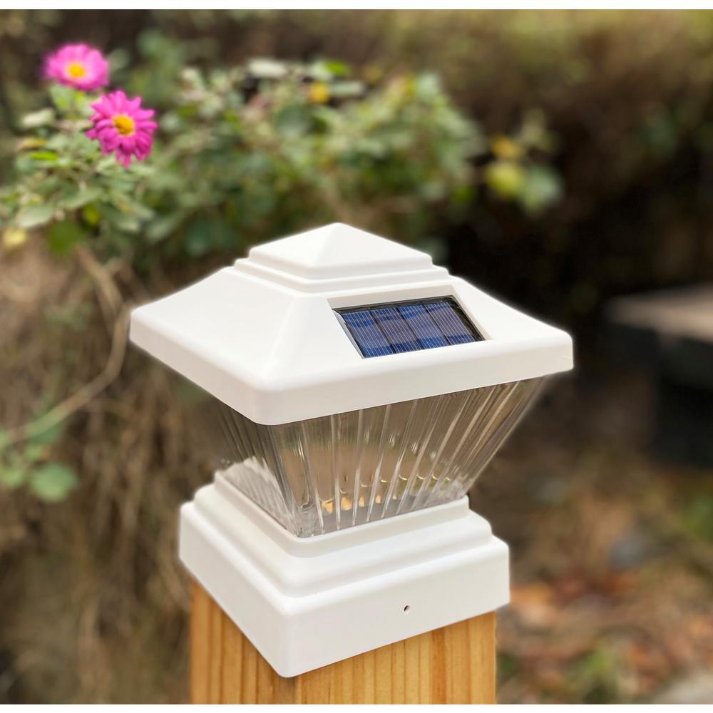 Relightable Solar 4 in. x 4 in. White Vinyl Outdoor Post Cap Deck LED Lights (4-Pack)