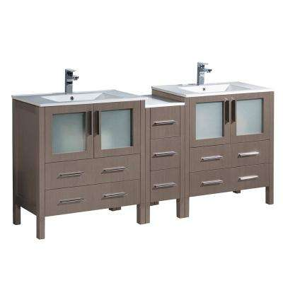 Torino 72 in. Double Vanity in Gray Oak with Ceramic Vanity Top in White with White Basins