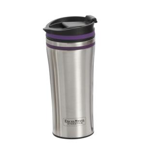 321165e7c3c 15 oz. Purple Double Wall Stainless Steel Coffee Tumbler with Silicone Ring