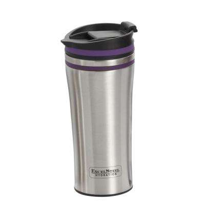 15 oz. Purple Double Wall Stainless Steel Coffee Tumbler with Silicone Ring