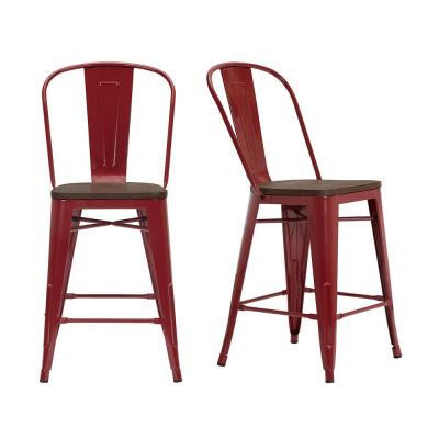 Finwick Chili Red Metal Counter Stool with Back and Wood Seat (Set of 2) (17.72 in. W x 38.78 in. H)