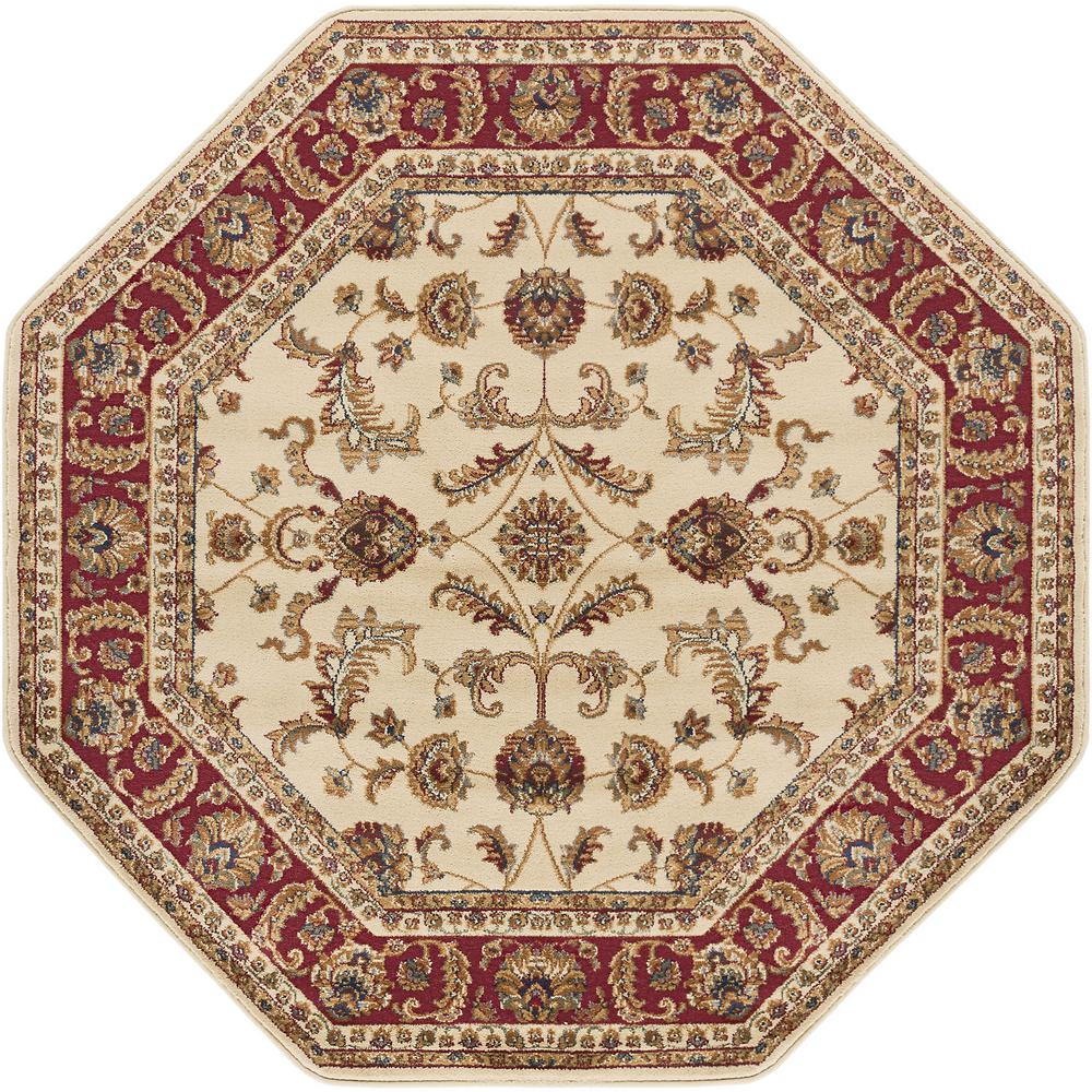 Tayse Rugs Sensation Beige 8 Ft Octagon Transitional Area