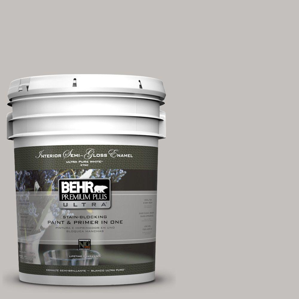 BEHR Premium Plus Ultra 5-gal. #PPU18-10 Natural Gray Semi-Gloss Enamel Interior Paint
