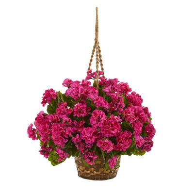 Indoor/Outdoor UV Resistant Red Geranium Hanging Basket Artificial Plant