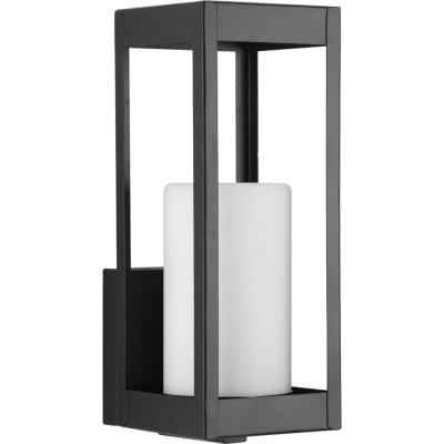 Patewood Collection 1-Light Black 12 in. Outdoor Wall Lantern Sconce