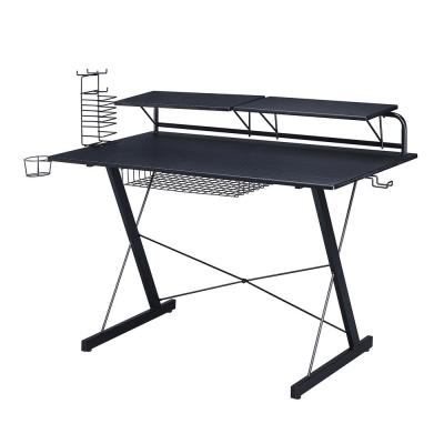 Black Carbon Computer Gaming Desk with Adjustable Shelves