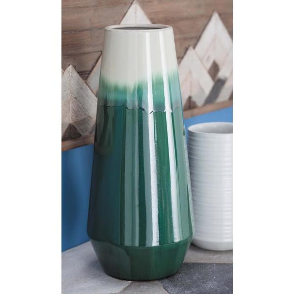 16 in. Pear-Shaped Green and White Gradients Ceramic Decorative Vase
