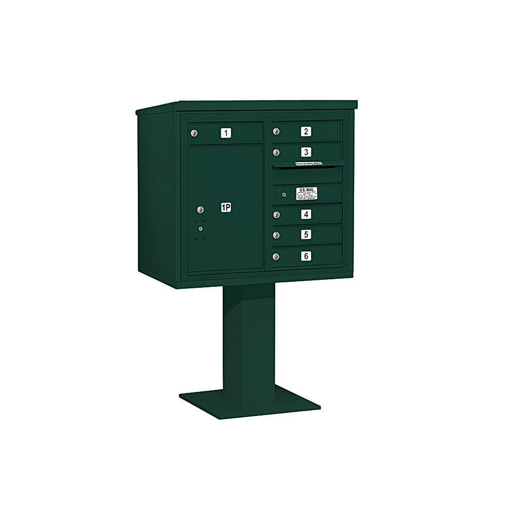 3400 Series 55-1/8 in. 7 Door High Unit Green 4C Pedestal