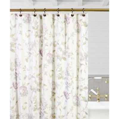 Abigail 72 in. Lilac Floral Shower Curtain