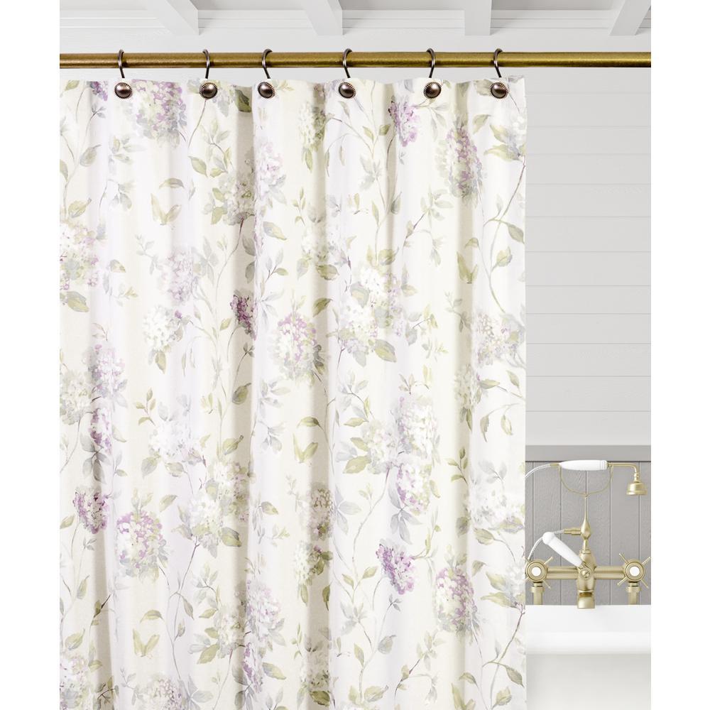 Ellis Curtain Abigail 72 In Lilac Floral Shower Curtain