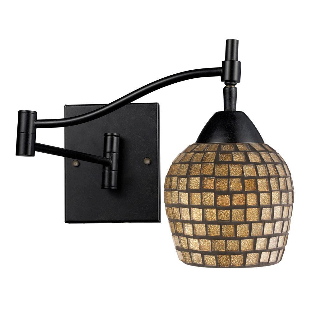 Titan Lighting Celina 1-Light Dark Rust Wall-Mount Swingarm Sconce
