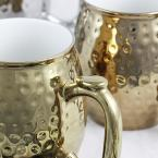 Gibson Home Glimmer 16 oz. Gold and Silver Color Electroplated Cup (Set of 4)