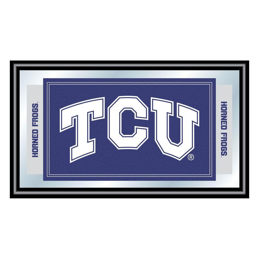 Texas Christian University 15 in. x 26 in. Black Wood Framed Mirror