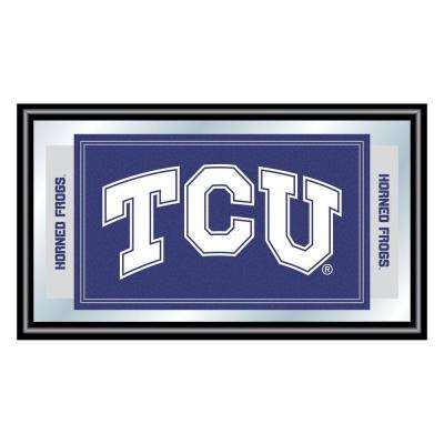 Texas Christian University 15 in. x 26 in. Black Wood Framed Mirror