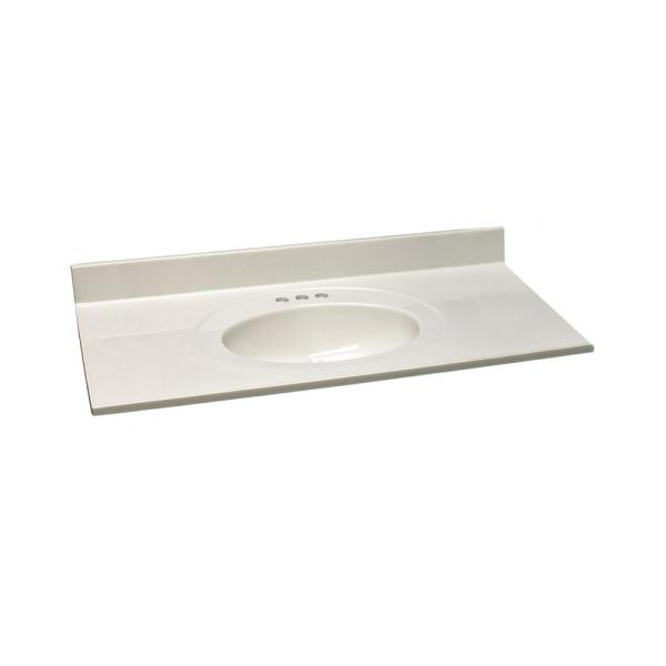 43 in. W x 22 in. Cultured Marble Vanity Top in White on White with White on White Basin and 4 in. Faucet Spread
