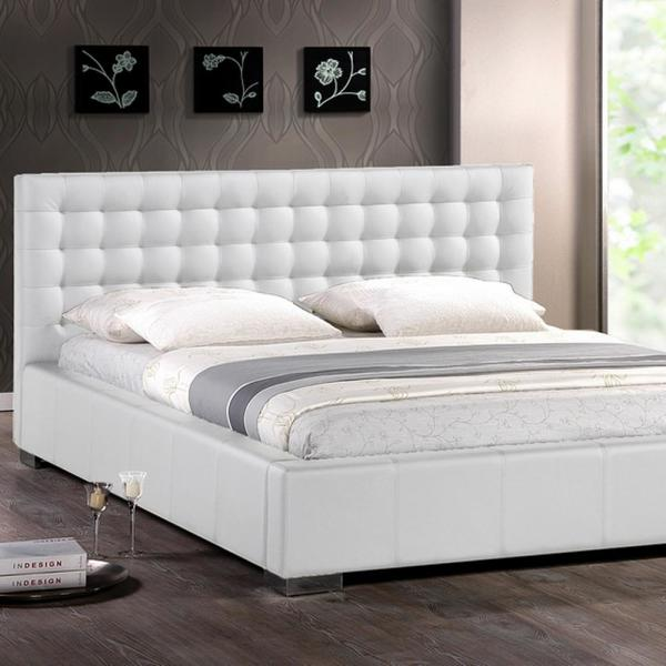 Madison Transitional White Faux Leather Upholstered Queen Size Bed