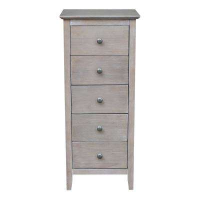 Brooklyn Weathered Gray Taupe 5 Drawer Chest