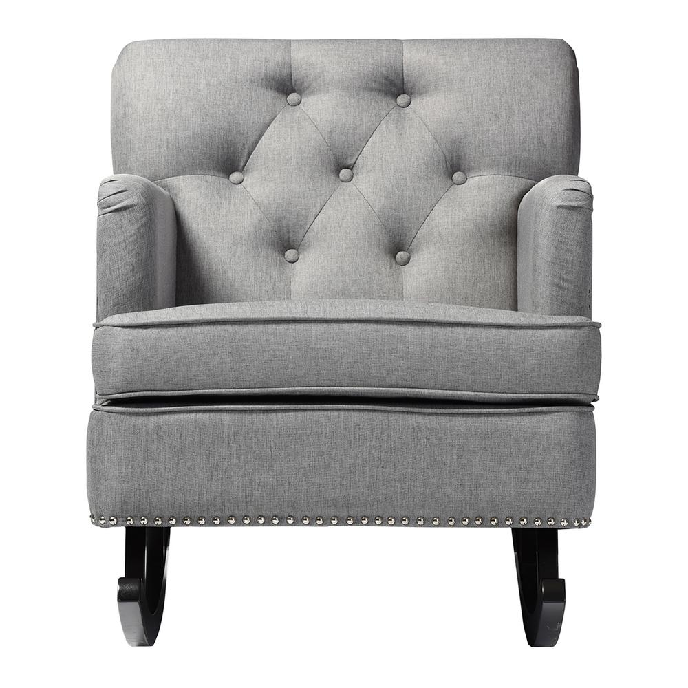 Baxton Studio Bethany Contemporary Gray Fabric Upholstered Rocking