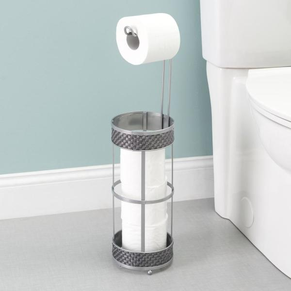Unbranded Basket Weave Toilet Paper Dispenser In Silver Hdc65420 The Home Depot