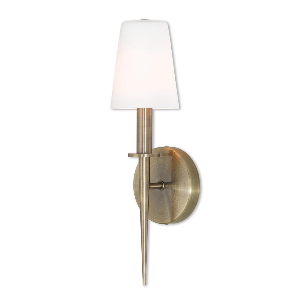 best service bf0b4 797ae Livex Lighting Witten 1 Light Antique Brass ADA Wall Sconce