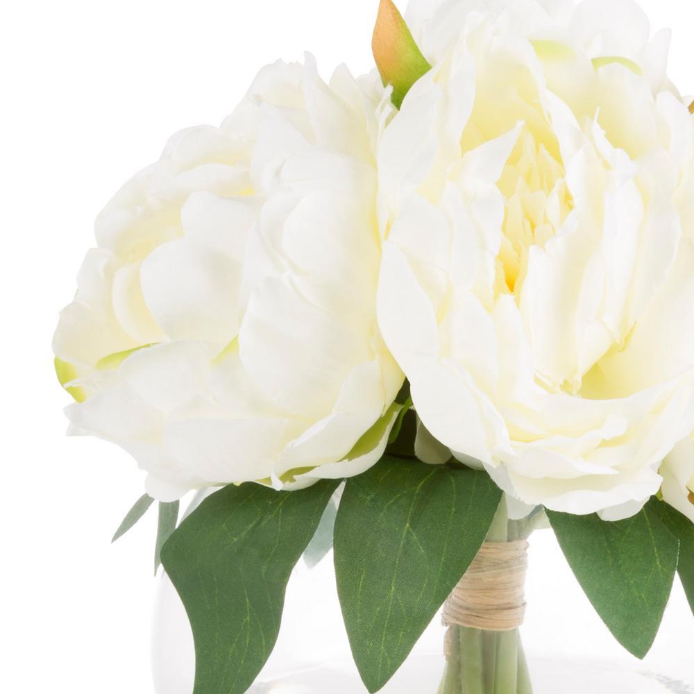 +4. Pure Garden 8 In. Rose Artificial Floral Cream Arrangement