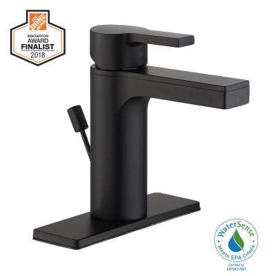 Modern Contemporary Single Hole Single-Handle Low-Arc Bathroom Faucet in Matte Black