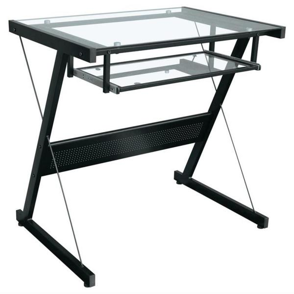 Proht Black Modern Style Computer Desk With Keyboard Tray And