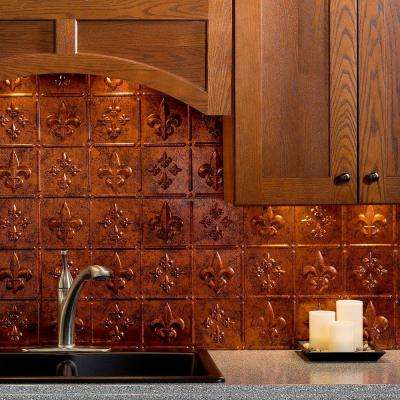 24 in. x 18 in. Fleur de Lis PVC Decorative Tile Backsplash in Moonstone Copper