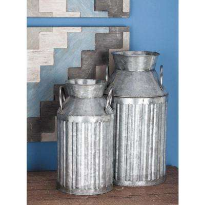 Farmhouse Corrugated Metallic Gray Metal Milk Jug (Set of 3)