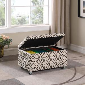 Fine Beige Moroccan Heart Black Stencil Storage Bench Hb4791 Pdpeps Interior Chair Design Pdpepsorg