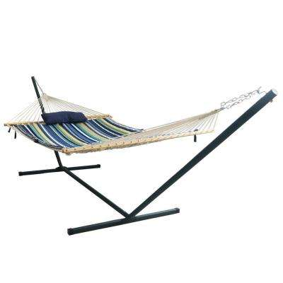 Island Retreat 15 ft. Stainless Steel Arc Hammock Set in Blue Cover