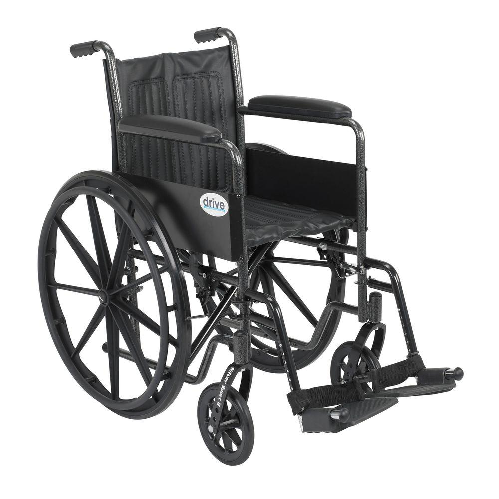 Drive Silver Sport 2 Wheelchair with Fixed Arms, Swing Away Footrests and  18 in  Seat