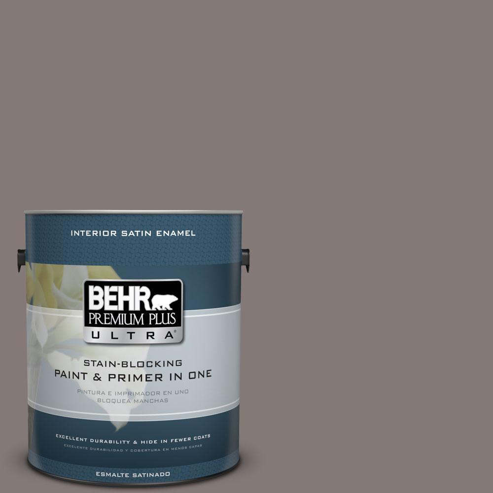 BEHR Premium Plus Ultra 1-gal. #N140-5 Complex Gray Satin Enamel Interior Paint