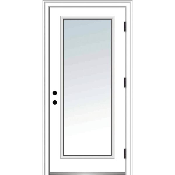 36 in. x 80 in. Severe Weather Left-Hand Full Lite Clear Low-E Glass Classic Primed Fiberglass Prehung Front Door