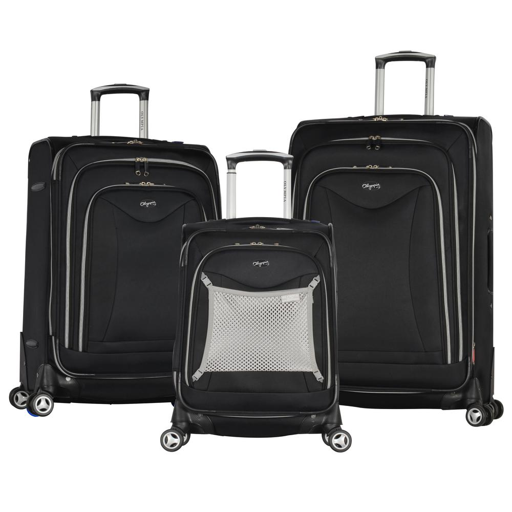 Luxe II Black 3-Piece Expandable Spinner Set