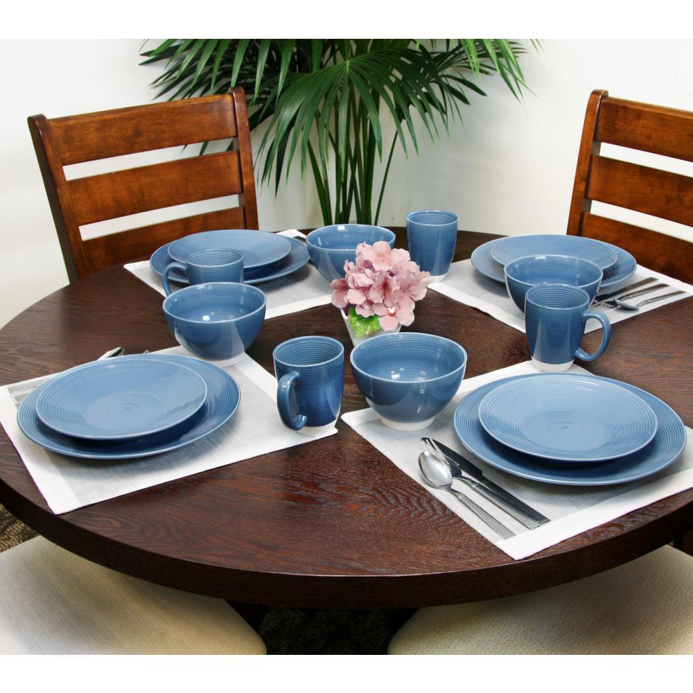 Rowland 16-Piece Casual Blue Stoneware Dinnerware Set (Service for 4)