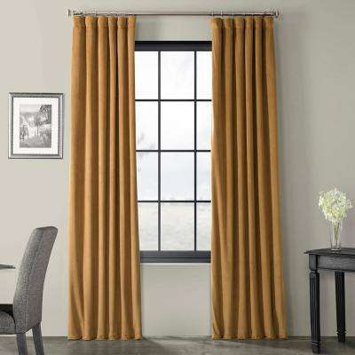 Blackout Signature Amber Gold Blackout Velvet Curtain - 50 in. W x 120 in. L (1 Panel)