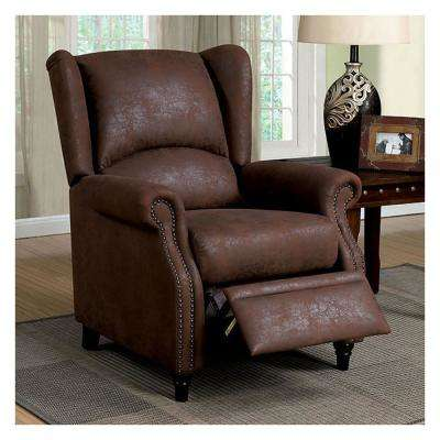 Leona Transitional Style Brown Recliner