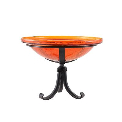 Achla Designs 12 5 In Dia Mandarin Orange Reflective Crackle Glass Birdbath Bowl With Tripod Stand Cgb 06m Tr The Home Depot
