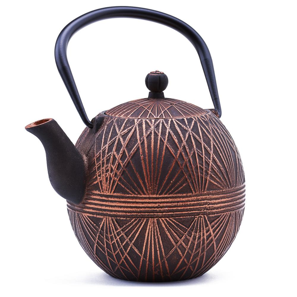 33 oz. Black/Copper Cast Iron Otaru Teapot