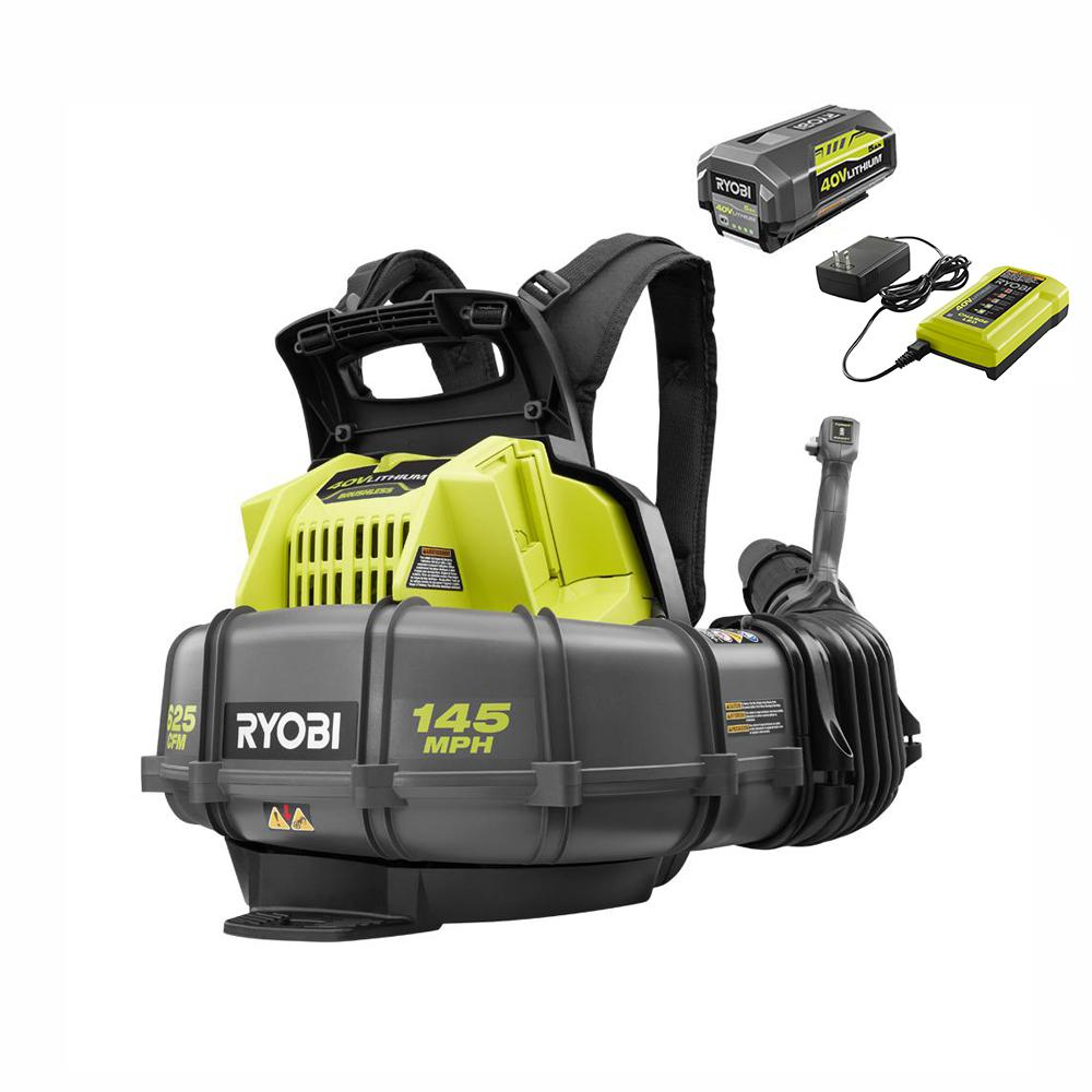 RYOBI 145 MPH 625 CFM 40-Volt Lithium-Ion Cordless Backpack Blower 5 Ah Battery and Charger Included