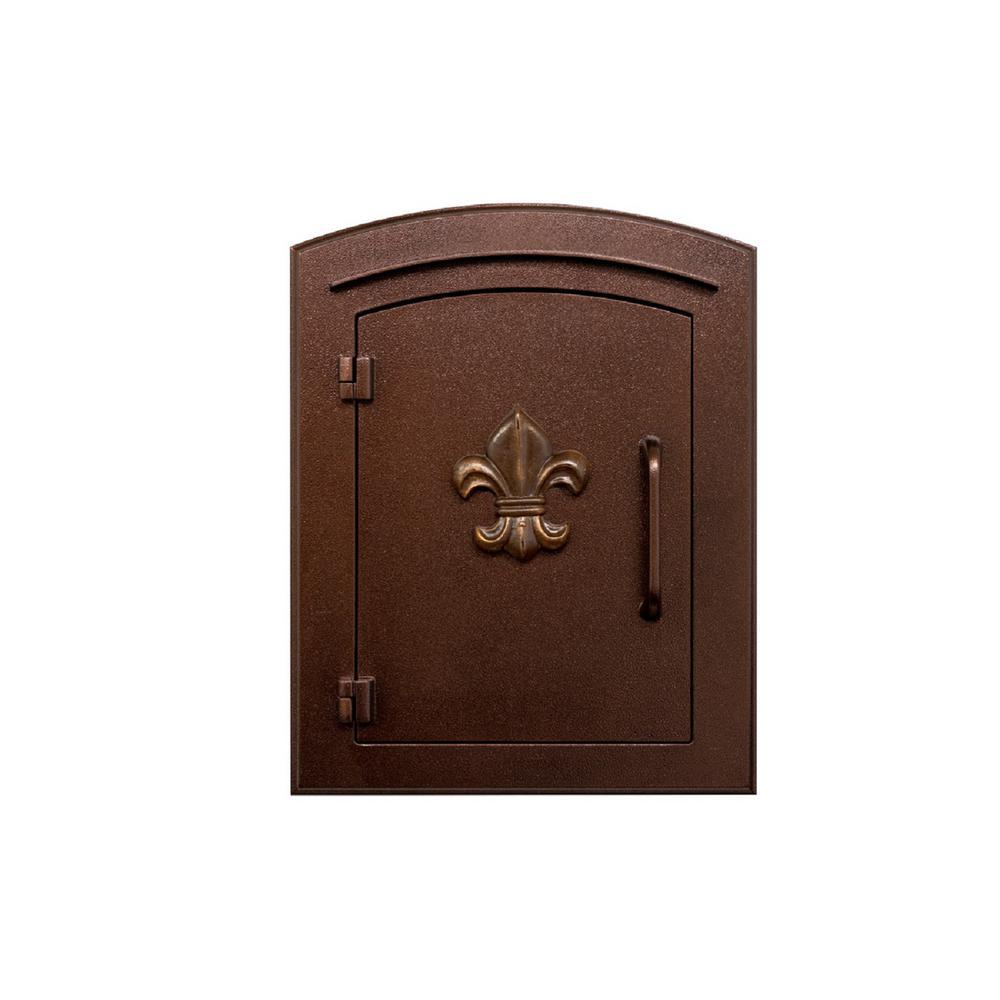 Manchester Antique Copper Column Mount Locking Drop Chute Mailbox with Fleur De Lis Logo Faceplate