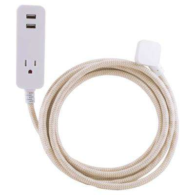 10 ft. Decor Extension Cord with 2 USB Charging Ports 2.4 Amp 1 Grounded Outlet Surge Protection, Light Brown/White