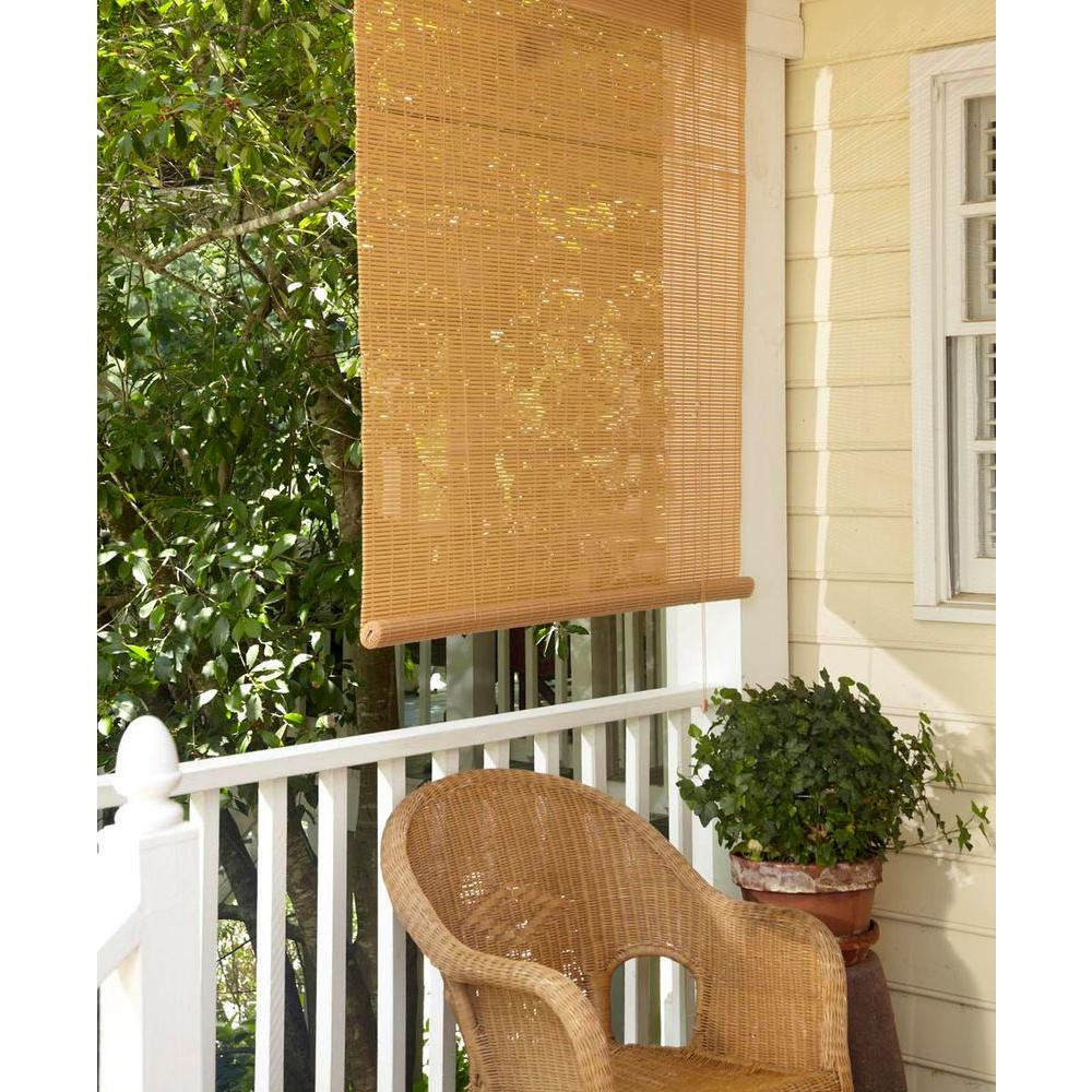Genial L Tan Woodgrain Exterior Roll Up Patio Sun