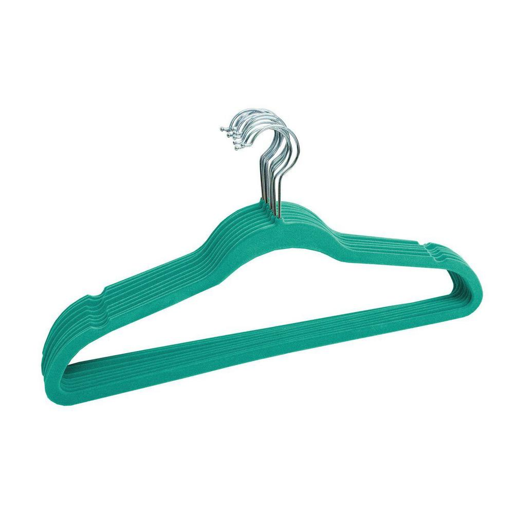 LINEN STORE Turquoise Velvet Slim Flocked Hangers (120-Pack) Keep your clothes in good shape longer with these non slip space saving velvet hangers. These smooth surface hangers feature notched shoulders to prevent garments from slipping. Each swiveling top hook is made of strong metal to hold light and heavy items. These hangers measure 18 x 9.25 x 0.2 with a compact and slim profile that maximizes storage space. Use these hangers for T-shirts, pants, trousers, suits and more. Color: Turquoise.