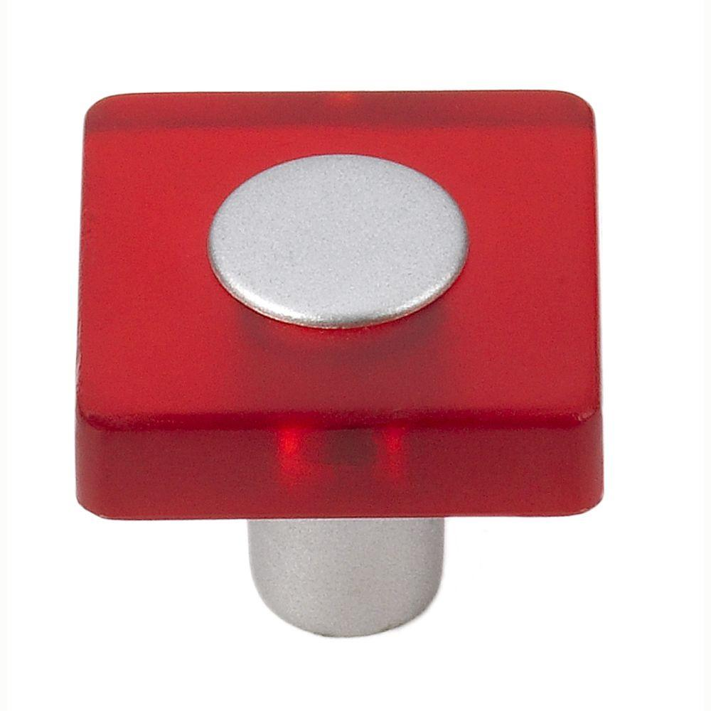 Siro Designs Decco 1-3/16 in. Red/Matte Aluminum Square Cabinet Knob