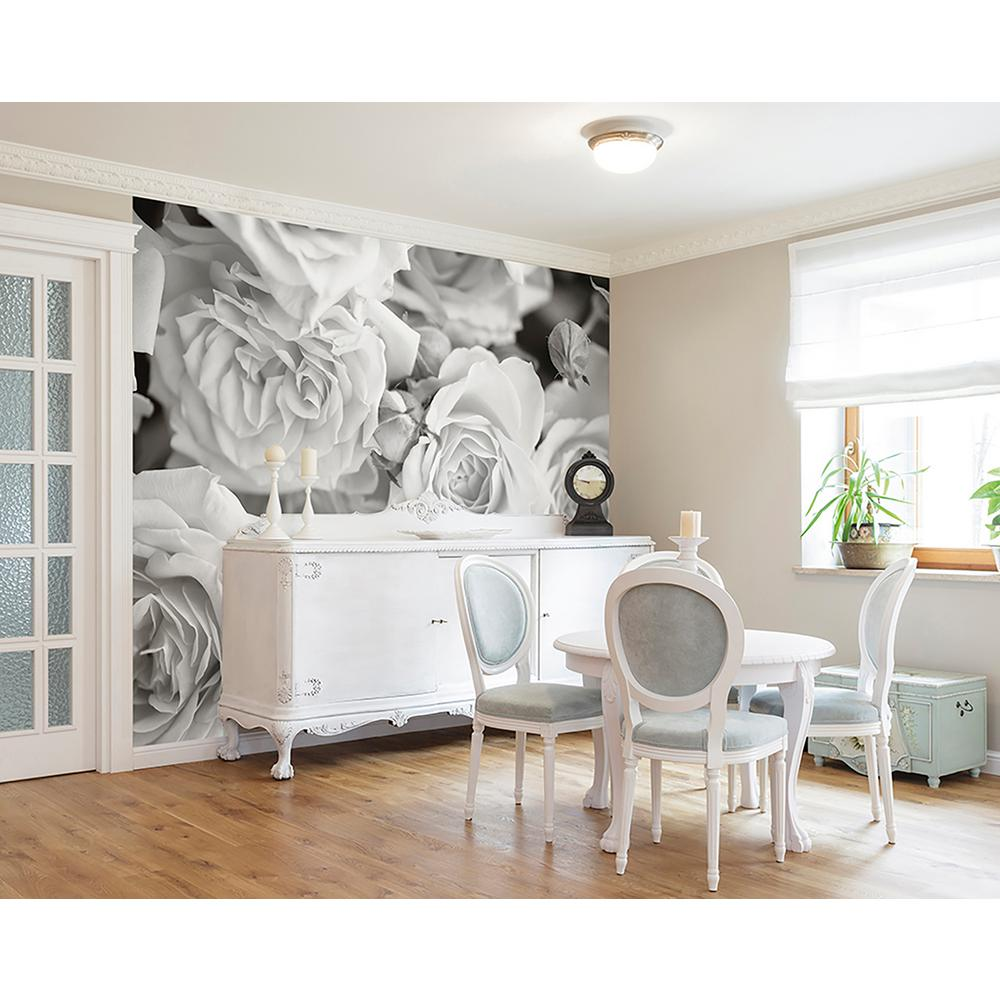 Brewster grey petals wall mural wals0206 the home depot for Brewster wall mural