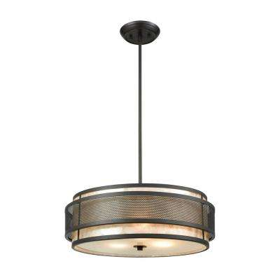 Beckley 3-Light Oil Rubbed Bronze Chandelier with Tan Mica Shade